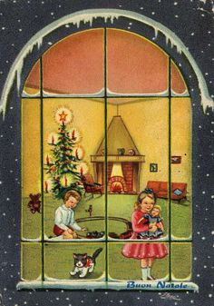 Miss Jane: Christmas Cards 1961.  There is nothing about this I don't love -- the colors, the style, the peak inside the window, the Christmas toys.