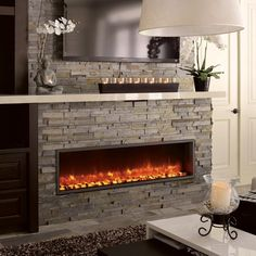 Fireplace Tv Wall, Linear Fireplace, Farmhouse Fireplace, Faux Fireplace, Fireplace Remodel, Fireplace Inserts, Modern Fireplace, Living Room With Fireplace, Fireplace Design