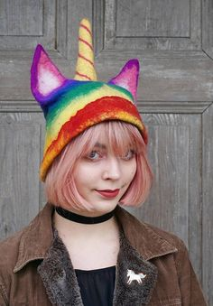 Unique felted rainbow unicorn hat, pussy hat with horn, unicat hat is perfect for LGBT pride parade or feminist hat for solidarity with Womens Rights March in Washington. Also unusual headdress for unicorn and cat lovers!  I made it of soft merino wool with addition of golden mesh on horn