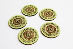 Inspired by the Music Hall window of Cincinnati, Ohio!  > Set of 5 > Precision Laser Cut > Sage Green Lacquer > Each Coaster Sealed to Prevent