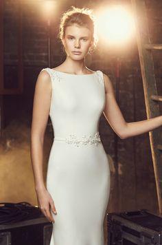 High Neck Crêpe Wedding Dress - Style #2088 | Mikaella Bridal
