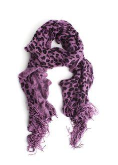 Ruffled Leopard Print Scarf In Purple $21