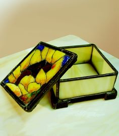 A Sunflower Mosaic on a Square Stained Glass Box by BeeTreeGlass
