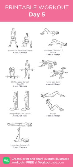 Day 5:my visual workout created at WorkoutLabs.com • Click through to customize and download as a FREE PDF! #customworkout