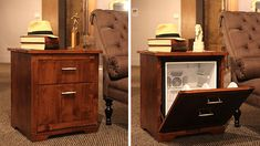 A mini fridge concealed as a side table.perfect for a man cave! uhhh perfect for my living room! Man Cave Diy, Man Cave Home Bar, Beer Fridge, Mini Fridge, Classy Living Room, My Living Room, Home Bar Accessories, Ultimate Man Cave, Dresser As Nightstand