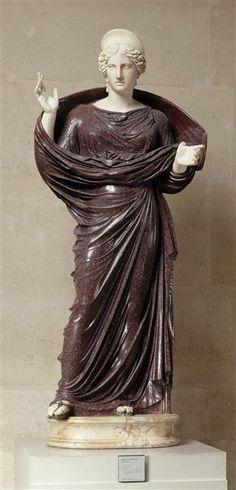 Unknown empress, Roman statue (marble, porphyry), 2nd century AD, (Musée du Louvre, Paris).