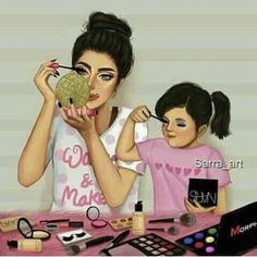 Me and my Daughter MyWorld, My Life ( Racquel ) Mother Daughter Quotes, Mother Art, Mom Daughter, Mother And Child, Daughters, Sarra Art, Girly M, Girly Drawings, Hard Drawings