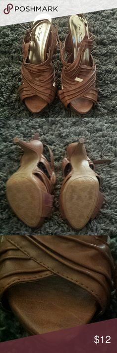 Cognac colored heels Strappy wrapped slingback heels. Barely worn slight scuff on right tip. Shoes Heels