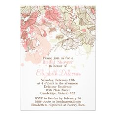 Whimsical Pink Flowers Bridal Shower Invitation