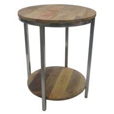 Berwyn End Table Metal and Wood Rustic Brown - Threshold™ : Target