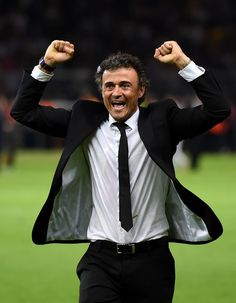 Luis Enrique manager of Barcelona celebrates victory after the UEFA Champions League Final between Juventus and FC Barcelona at Olympiastadion on June 6, 2015 in Berlin, Germany.