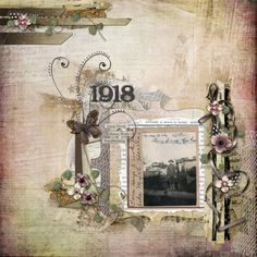 1918 ~ Heritage digi page with a wonderful textured background. *Click on photo for list of kits used with links.