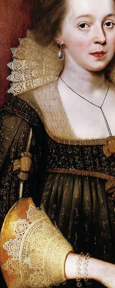 Portrait of a Young Lady, Paul Van Somer, (detail)