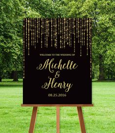 Elegant Wedding Welcome Sign DIY / Welcome To Our Wedding / Great Gatsby Inspired Bokeh String Light Sparkle / Black and Gold ▷Printable PDF