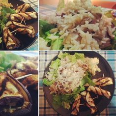 """""""Special dinner today: grilled eggplant with hummus and basmati rice on salad"""""""