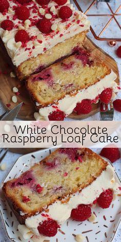 A Simple and Delicious White Chocolate Raspberry Loaf Cake with White Chocolate Buttercream Frosting and Fresh Raspberries! A Simple and Delicious White Chocolate Raspberry Loaf Cake with White Chocolate Buttercream Frosting and Fresh Raspberries! Cupcake Recipes, Baking Recipes, Cookie Recipes, Cake Receipe, Healthy Cake Recipes, Sponge Cake Recipes, Gourmet Cupcakes, Frosting Recipes, White Chocolate Raspberry Cake