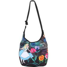 Loungefly Disney Alice In Wonderland Floral Hobo Bag Hot Topic (335 MXN) ❤ liked on Polyvore featuring bags, handbags, shoulder bags, flower print handbags, white shoulder bag, floral print purse, flower print purse and white hobo purse
