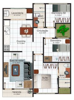 Planta de casa até 70 m2 com 1 suíte e 2 quartos