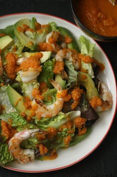 Grilled Shrimp Salad Recipe with Avocado and Carrot Ginger Dressing ...