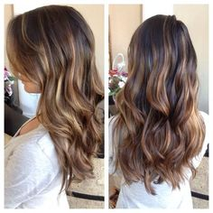 Honey Balayage on Dark Brown Hair