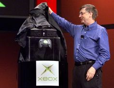 Bill Gates: Gates unveils the Xbox video game console during his keynote address at the Consumer Electronics Show in Las Vegas,  on January 6, 2001. 'Xbox is the future of video gaming,' Gates said  during his address. Xbox was launched in the fall of 2001. (Photo by JEFF CHRISTENSEN.)