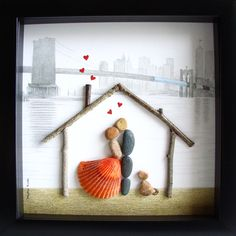 unique house warming gift family of two and dog custom family gift pebble - Unique House Gifts