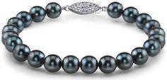 #Jewelry #Pearls 14K Gold 8.0-8.5mm Japanese Akoya Black Cultured Pearl Bracelet