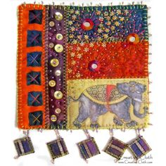 On A Starry Night In India Mini Art Quilt Project - Use simple patchwork, and machine and hand embellishing techniques to create this richly embellished mini art quilt.