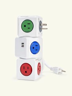 PowerCube outlet adapter, by AllocacocWith receptacles arrayed onto four of its six faces, the compact PowerCube offers plenty of elbow room for each plug. Available with or without USB ports and extension cords. Daisy-chain them to make your own power strip.From about $20; powercube-usa.com