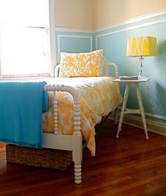 Playroom is going to be aqua and corn yellow. Love this combo. How can you not be happy with colors like these? Plus, they are gender neutral!