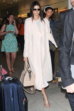 Arriving at the Nice airport for the Cannes Film Festival.