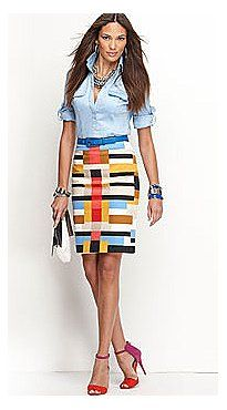 """Love this skirt.  """"New York and Co. Geometric Print Pencil Skirt and Two Pocket Camp Shirt"""""""