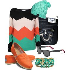 Chevron Stripes & Toms of course I love the orange Cute Fashion, Modest Fashion, Fashion Outfits, Womens Fashion, Classy Casual, Style Me, Shoes Style, School Fashion, New Wardrobe