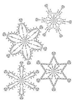 Crochet Patterns Christmas Crochet snowflakes on my Christmas tree. Crochet Snowflake Pattern, Christmas Crochet Patterns, Crochet Christmas Ornaments, Crochet Stars, Crochet Motifs, Crochet Snowflakes, Crochet Diagram, Crochet Doilies, Crochet Flowers
