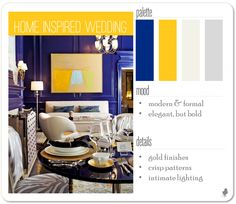 cobalt blue, yellow, and gold formal wedding