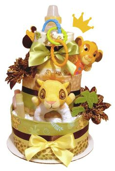 lion king baby shower center pieces | Lion King Diaper Cake - Baby Shower Centerpiece and Gift