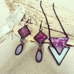 Geometric Stained Glass necklace and earring by LissieHoffertGlass