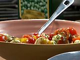 Picture of Mini Caprese Salad Recipe - made it with mini yellow bell peppers in addition to cherry tomatoes, and half lemon juice half balsamic - very pretty
