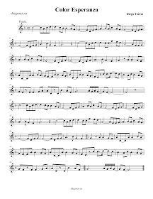 Partitura Color Esperaza, de Diego Torres - Clarinete, trompeta, soprano sax, saxo tenor en sib Color Esperanza, Diego Torres. Clarinet, soprano sax, tenor saxo and Trumpet Sheet Music