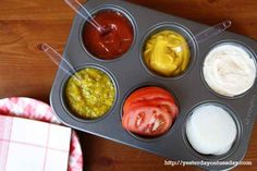 Muffin tins make great condiment service dishes.