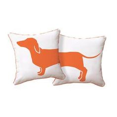 Cotton canvas pillow with a dachshund motif.  Product: PillowConstruction Material: 100% Cotton canvas cover and polyester fillColor: Orange and whiteFeatures:  Insert includedZipper closure Dimensions: 16 x 16Note: Includes one pillow. Image depicts front and back of pillow.  Cleaning and Care: Hand wash or machine wash cold