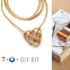 How to wire crochet a celtic heart necklace - DIY kit