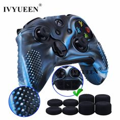 1 Piece of Studded Protective Silicone Cover Skin Sleeve Case + 8 Thumb Grips Analog Caps for Xbox One/S/X Controller Camouflage blue compatible with Official Stereo Headset Adapter Joystick, Nike Wallpaper, Xbox One S, Grand Theft Auto, Computer Accessories, 1 Piece, Headset, Camouflage, Consumer Electronics