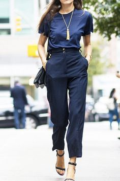 navy on navy for a polished spring look.