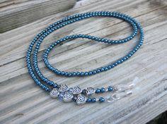 Navy Blue Celtic Heart Eyeglass Chain. Celtic Eyeglass Holder.