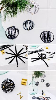 DIY: make tree decorations yourself. Paper balls with handwritten messages or Christmas carols Material: paper strips, sample bag clips, pens, yarn decorations balls Informations About Baumschmuck selber machen: Papierkugeln und Weihnachtslieder. Diy Arts And Crafts, Diy Craft Projects, Decor Crafts, Crafts For Kids, Noel Christmas, Christmas Crafts, Christmas Ornaments, Outdoor Christmas Decorations, Tree Decorations