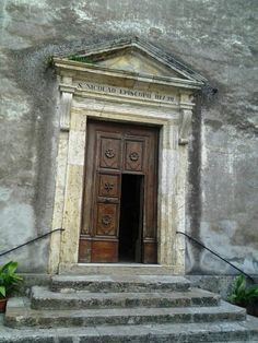 Door on the church in Sorano