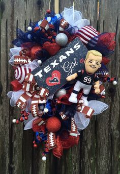 Houston Texans Wreath Houston Texans Mesh Wreath by BaBamWreaths
