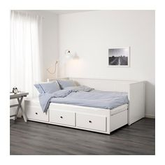 IKEA HEMNES Day-bed frame with 3 drawers White cm With some fluffy, soft pillows as back support, you easily transform this day-bed into a. Ikea Daybed, Daybed Room, Ikea Beds, Day Bed Ikea, Daybed Bedding, Bedding Sets, Cama Murphy Ikea, Murphy Bed, Cama Ikea Hemnes