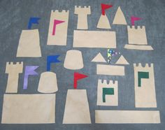 Sandcastle Pieces made from sand paper Sand Castle Craft, Castle Crafts, Beach Theme Preschool, Preschool Crafts, Preschool Themes, Felt Board Stories, Felt Stories, Beach Crafts, Summer Crafts